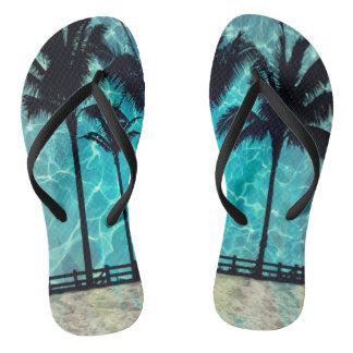 Tropical Palm Trees Summer Fun Flip Flops
