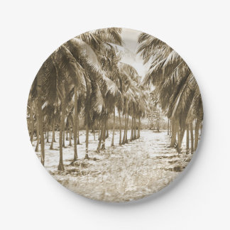 Tropical Palm Trees Vintage 7 Inch Paper Plate