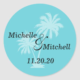 Tropical Palm Trees Wedding Labels Teal Round Sticker