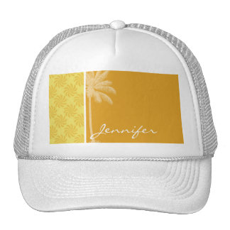 Tropical Palm Yellow Orange Swirl Hats