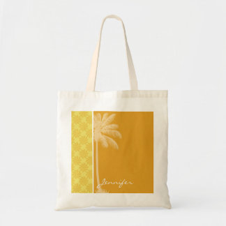 Tropical Palm; Yellow Orange Swirl Budget Tote Bag