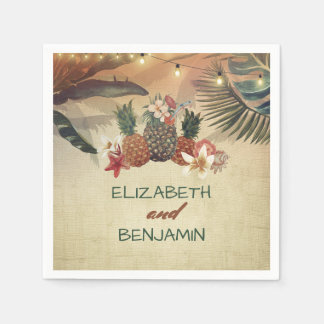 Tropical Palms and Pineapple Beach Wedding Paper Serviettes
