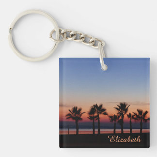 Tropical Palms at Sunset Personalized Single-Sided Square Acrylic Keychain