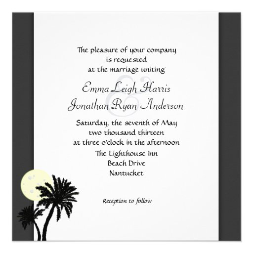 Tropical Palms, Black and White Wedding Invitation