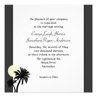 Tropical Palms Black and White Wedding Invitation