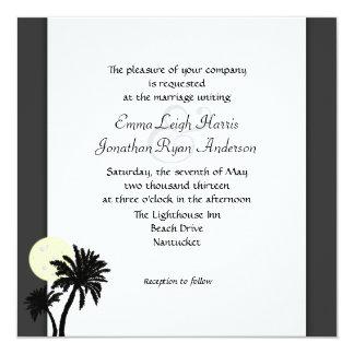 "Tropical Palms, Black and White Wedding Invitation 5.25"" Square Invitation Card"