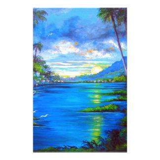 Tropical Palms Blue Stationery