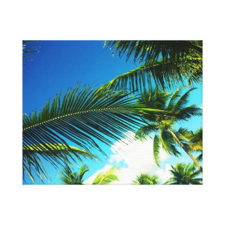 Tropical Palms in the Sky Canvas Print