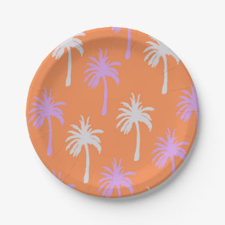 Tropical Palms on Bright Orange Paper Plate