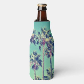 Tropical Palms on Teal Bottle Cooler
