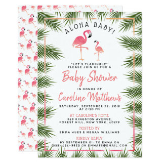 Tropical Palms Watercolor Flamingo Baby Shower Card