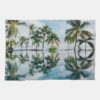 Tropical Palms with reflection in the Ocean. Tea Towel