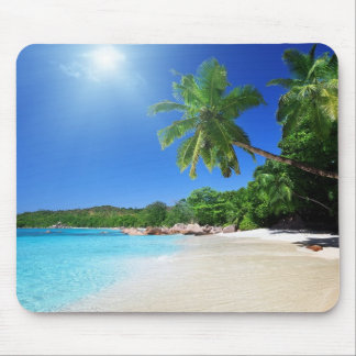 Tropical palmtrees paradise beach mouse mat