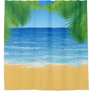 Tropical Paradise Beach and Palm Fronds Shower Curtain