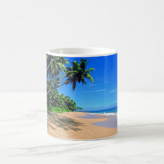 Tropical paradise beach and palmtrees mug