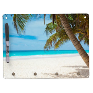 Tropical Paradise Beach Dry Erase Board With Key Ring Holder