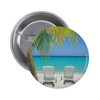 Tropical paradise beach in the Caribbean 6 Cm Round Badge
