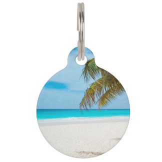 Tropical Paradise Beach Pet Name Tag