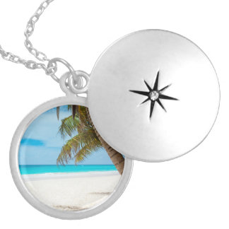Tropical Paradise Beach Silver Plated Necklace