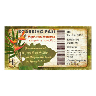 Tropical Paradise Boarding Pass Invitation