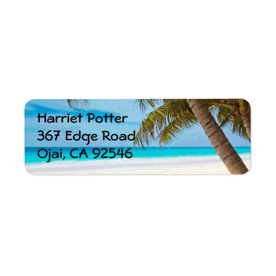 Tropical Paradise Fine Beach Palm Trees Return Address Label