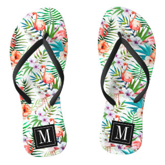 Tropical Paradise Flamingo Flowers Leaves Monogram Flip Flops
