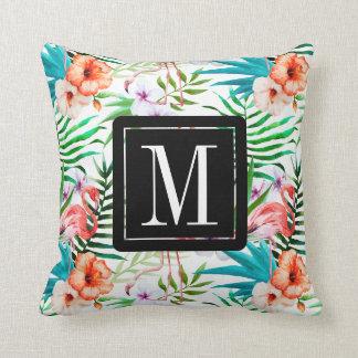 Tropical Paradise Flamingo Flowers Leaves Monogram Throw Pillow