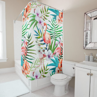 Tropical Paradise Flamingo Flowers Leaves Shower Curtain