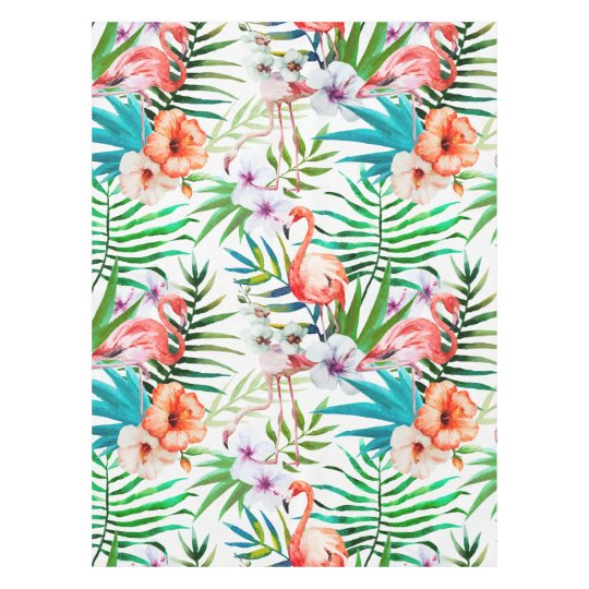 Tropical Paradise Flamingo Flowers Leaves Tablecloth