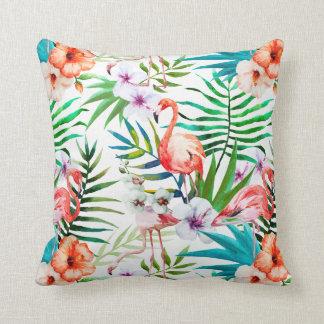 Tropical Paradise Flamingo Flowers Leaves Throw Pillow