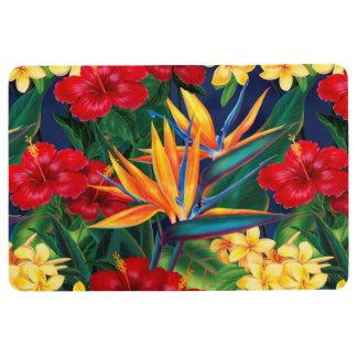 Tropical Paradise Hawaiian Floral Beach House Floor Mat