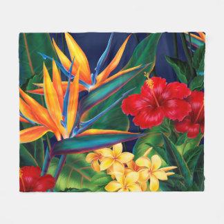 Tropical Paradise Hawaiian Floral Fleece Blanket