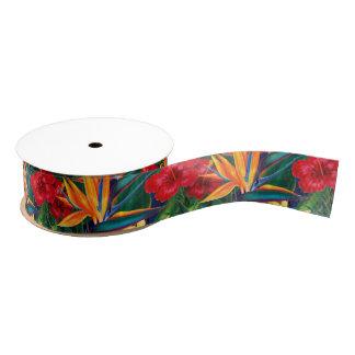 Tropical Paradise Hawaiian Floral Grosgrain Ribbon