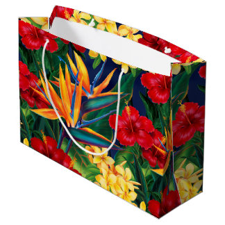 Tropical Paradise Hawaiian Floral Large Gift Bag