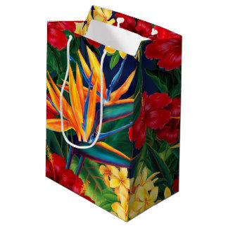 Tropical Paradise Hawaiian Floral Medium Gift Bag