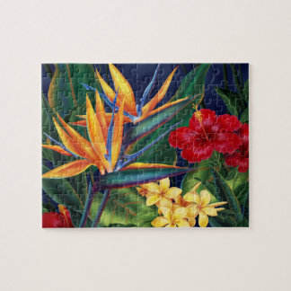Tropical Paradise Hawaiian Floral Puzzle with Tin