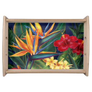 Tropical Paradise Hawaiian Floral Serving Tray