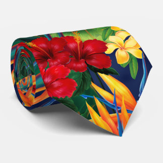 Tropical Paradise Hawaiian Floral Two-Sided Tie