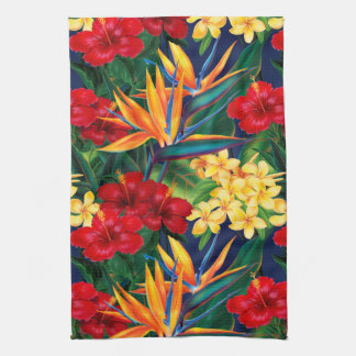 Tropical Paradise Hawaiian Floral Vertical Tea Towel