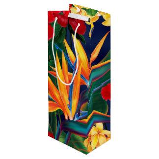 Tropical Paradise Hawaiian Floral Wine Gift Bag