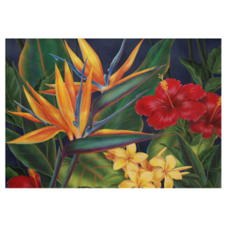 Tropical Paradise Hawaiian Floral Wood Poster