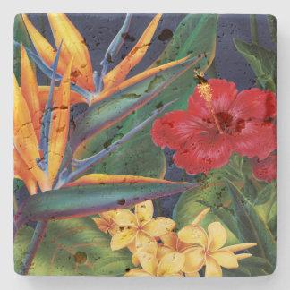 Tropical Paradise Hawaiian Stone Tiki Bar Coaster Stone Coaster