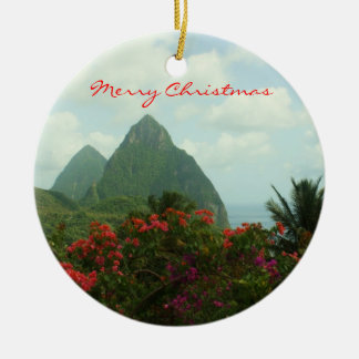 Tropical Paradise Merry Christmas Ornament