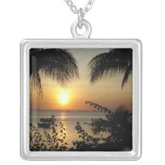 Tropical Paradise Square Pendant Necklace