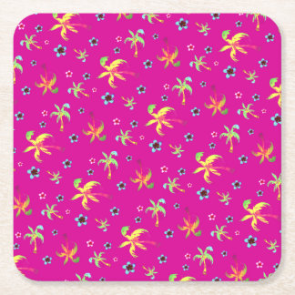 tropical paradise palms and frangipanis square paper coaster