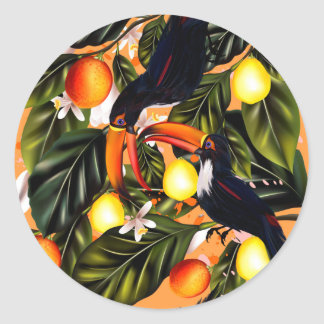 Tropical paradise. Toucans and citrus Classic Round Sticker