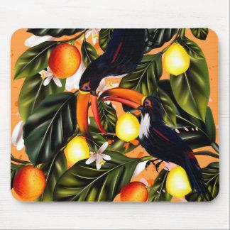 Tropical paradise. Toucans and citrus Mouse Mat