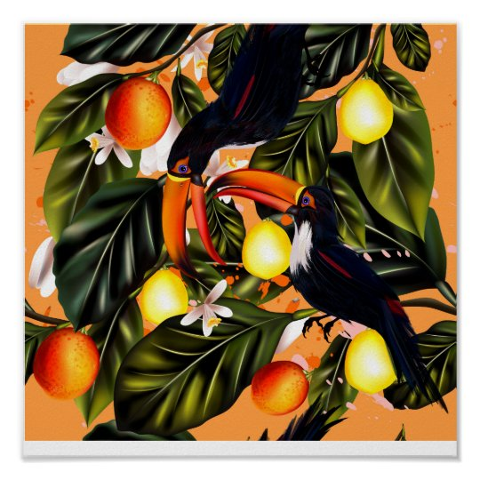 Tropical paradise. Toucans and citrus Poster