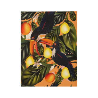 Tropical paradise. Toucans and citrus Wood Poster
