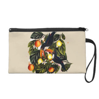 Tropical paradise. Toucans and citrus Wristlet